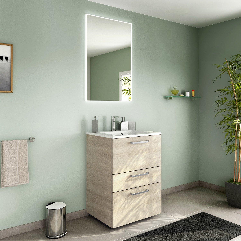 Meuble de salle de bains de 60 79 marron neo line leroy merlin - Meuble de salle de bain marron ...