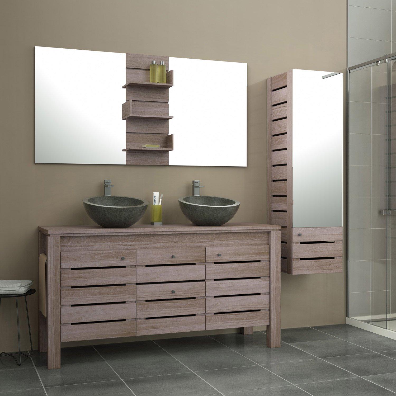 Meuble de salle de bains plus de 120, marron, Moorea   Leroy Merlin