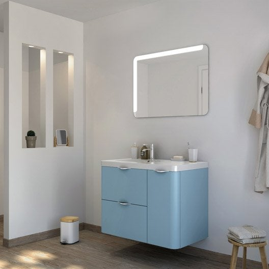 meuble de salle de bains neo shine bleu glacier 3 mat 90 cm leroy merlin. Black Bedroom Furniture Sets. Home Design Ideas