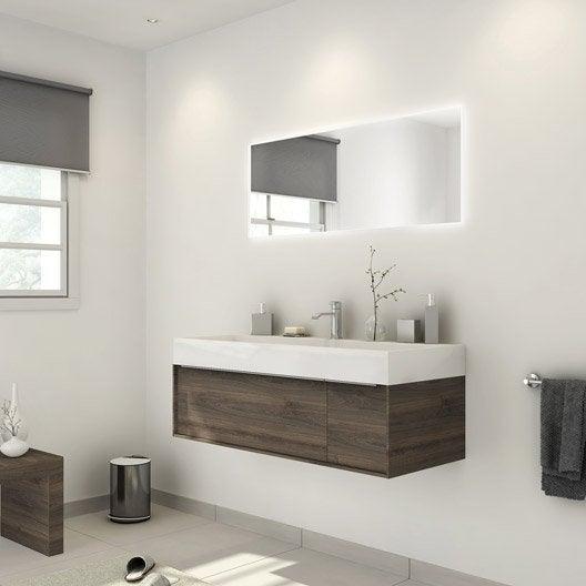 Meuble de salle de bains plus de 120 brun marron neo - Lavabo salle de bain leroy merlin ...