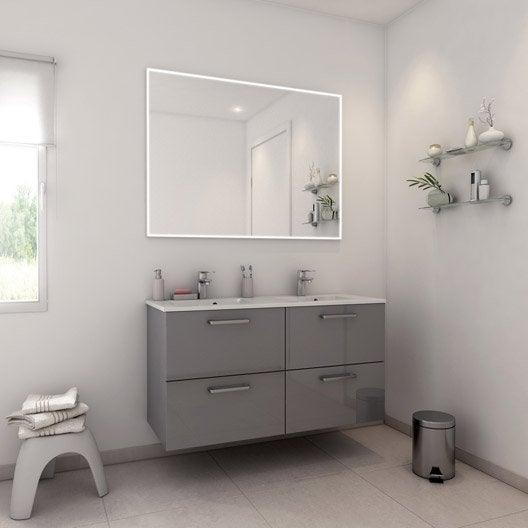 Meuble de salle de bains plus de 120 gris argent neo - Produit salle de bain ...