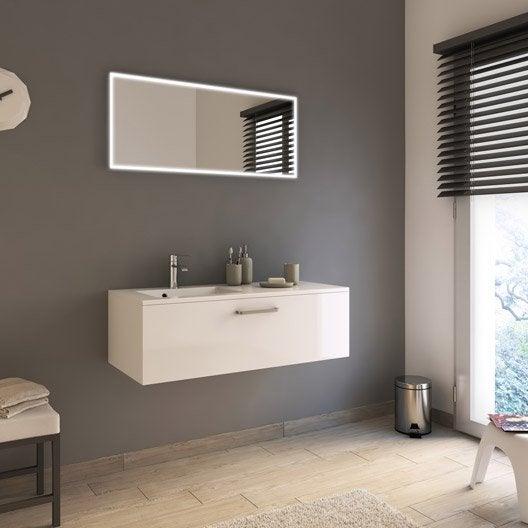 Meuble de salle de bains de 100 119 blanc beige naturels neo line l - Meubles sdb leroy merlin ...
