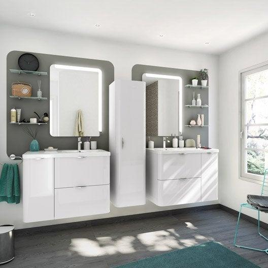 Meuble de salle de bains de 80 99 blanc beige for Salle de bain 3d leroy merlin
