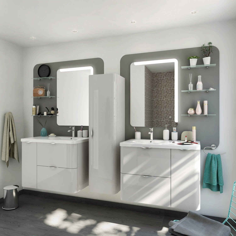 meuble de salle de bains de 80 99 marron neo shine leroy merlin. Black Bedroom Furniture Sets. Home Design Ideas
