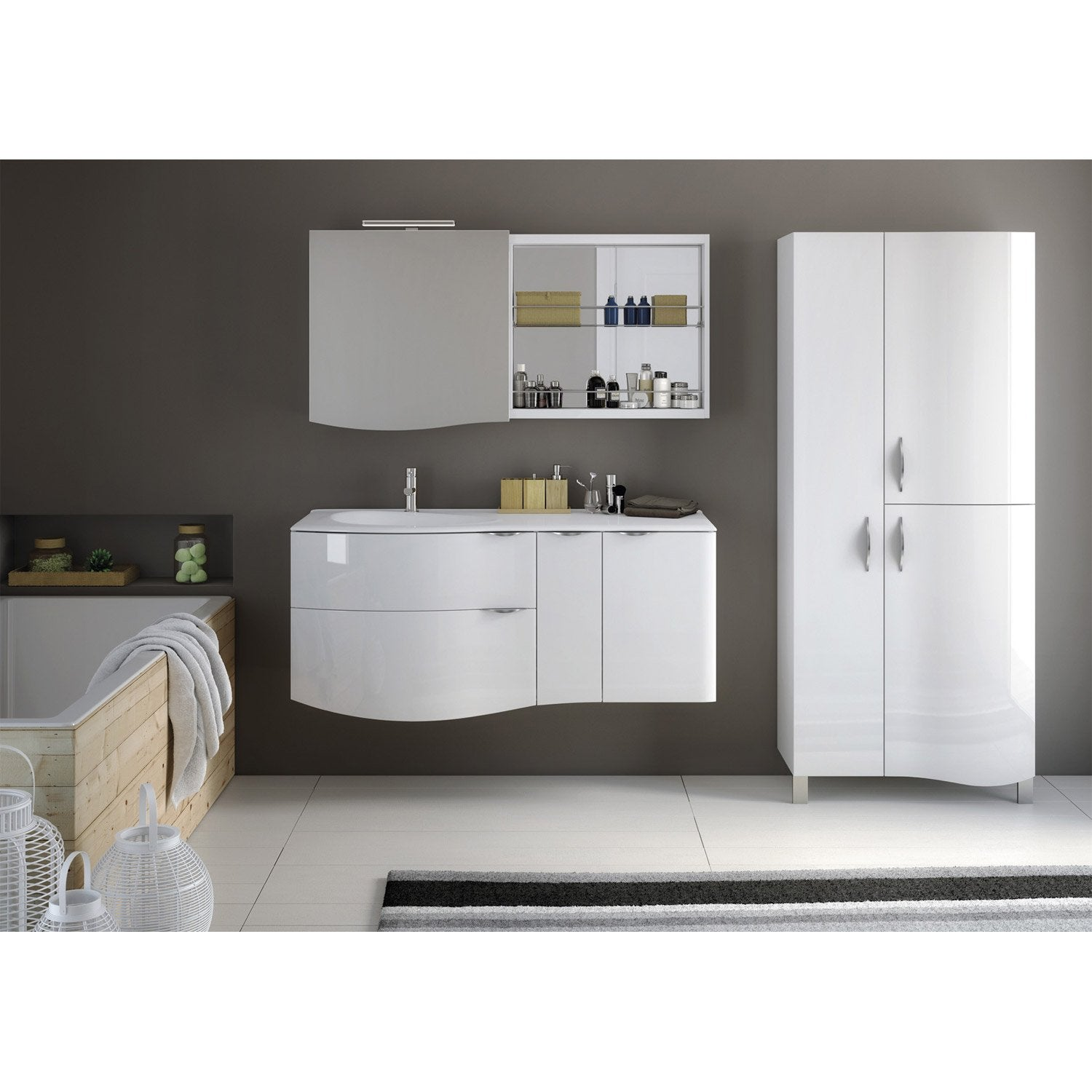 meuble de salle de bains plus de 120 blanc elegance leroy merlin. Black Bedroom Furniture Sets. Home Design Ideas