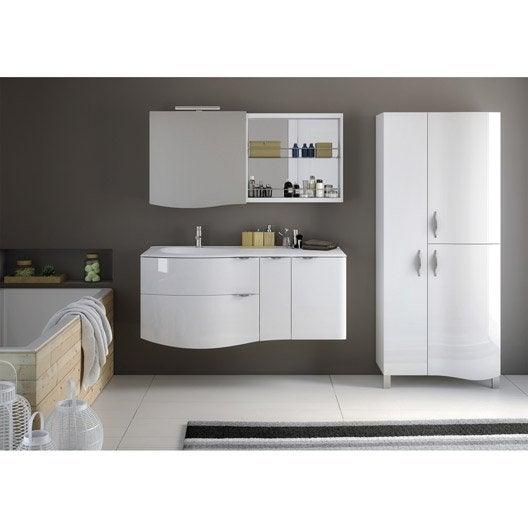 Meuble de salle de bains plus de 120 blanc elegance - Produits salle de bain ...