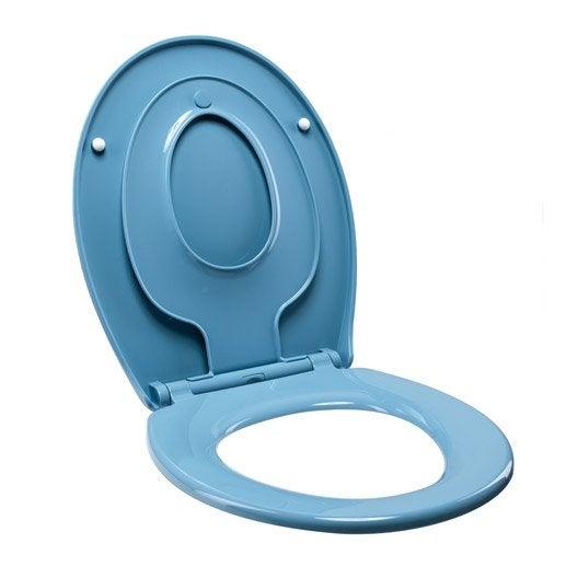 abattant frein de chute déclipsable bleu plastique thermodur