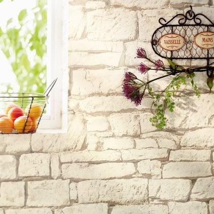 Papier peint mur brique beige intissé bon appétit