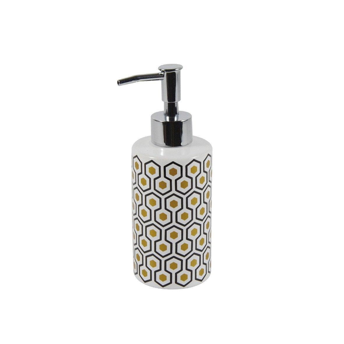 Distributeur de savon céramique Carlton, blanc, noir et or