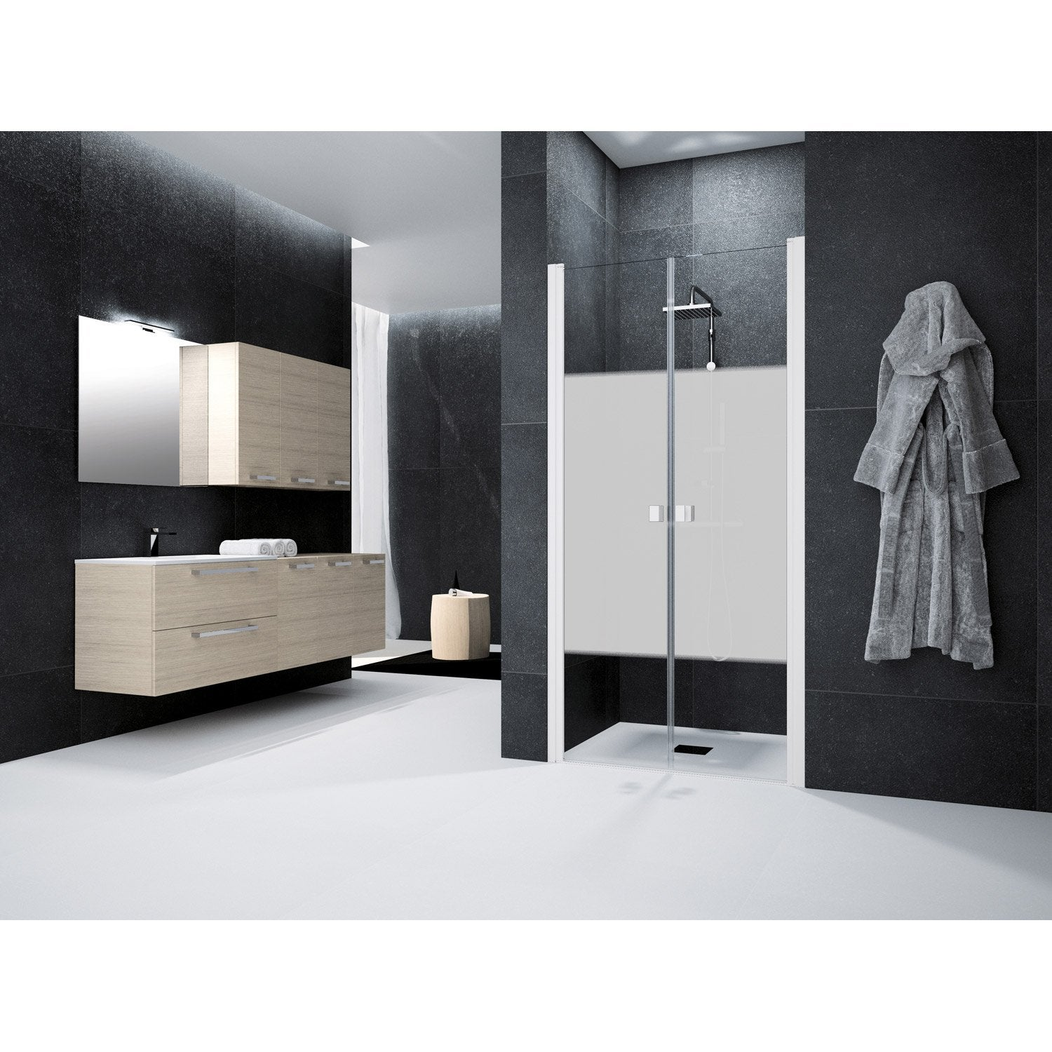 porte de douche battante 90 cm s rigraphi neo leroy merlin. Black Bedroom Furniture Sets. Home Design Ideas