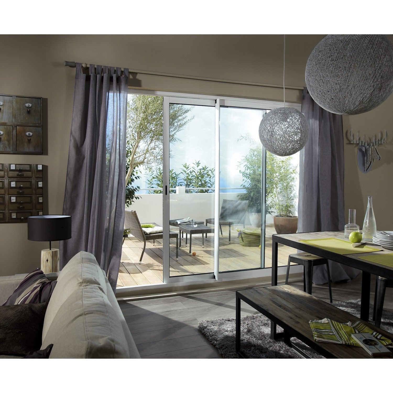 Baie vitrée aluminium blanc Brico essentiel H.215 x l.210 cm
