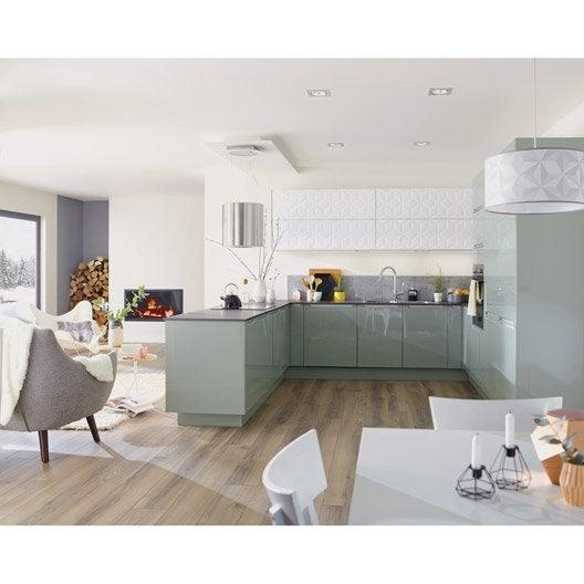 Meuble de cuisine vert delinia milano leroy merlin - Leroy merlin peinture meuble cuisine ...