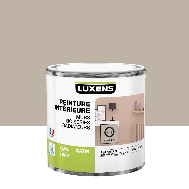 Peinture, mur, boiserie, radiateur, Multisupports LUXENS, fossil 5, satin, 0.5 l