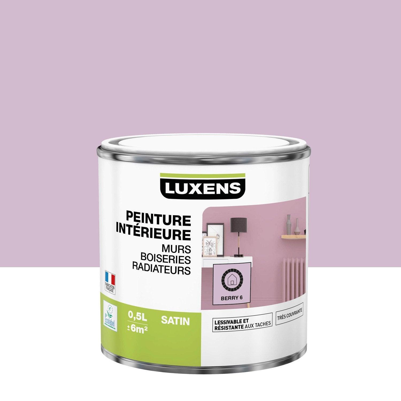 Peinture mur, boiserie, radiateur Multisupports LUXENS, berry 6, 0.5 l, satin