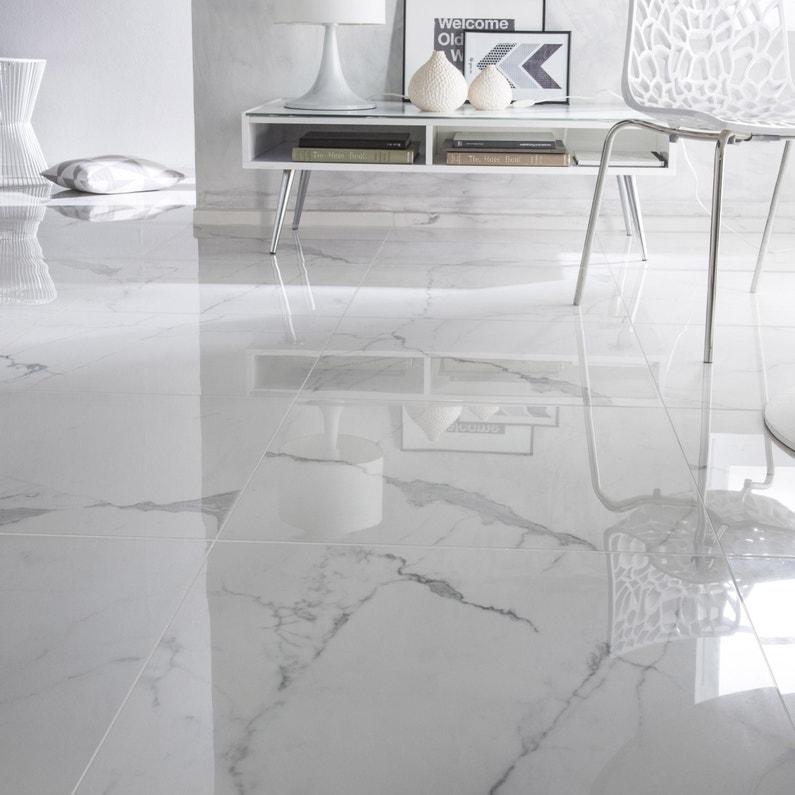 Audacieux Carrelage sol et mur blanc effet marbre Rimini l.60 x L.60 cm SX-68