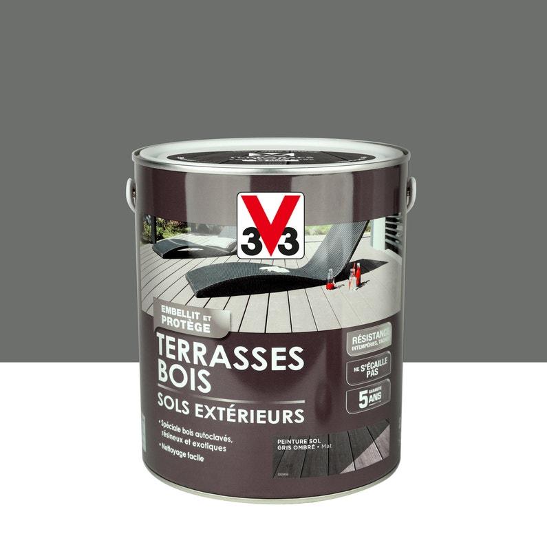 Peinture Sol Extérieur Terrasse Bois V33 Gris Ombré 25l Leroy