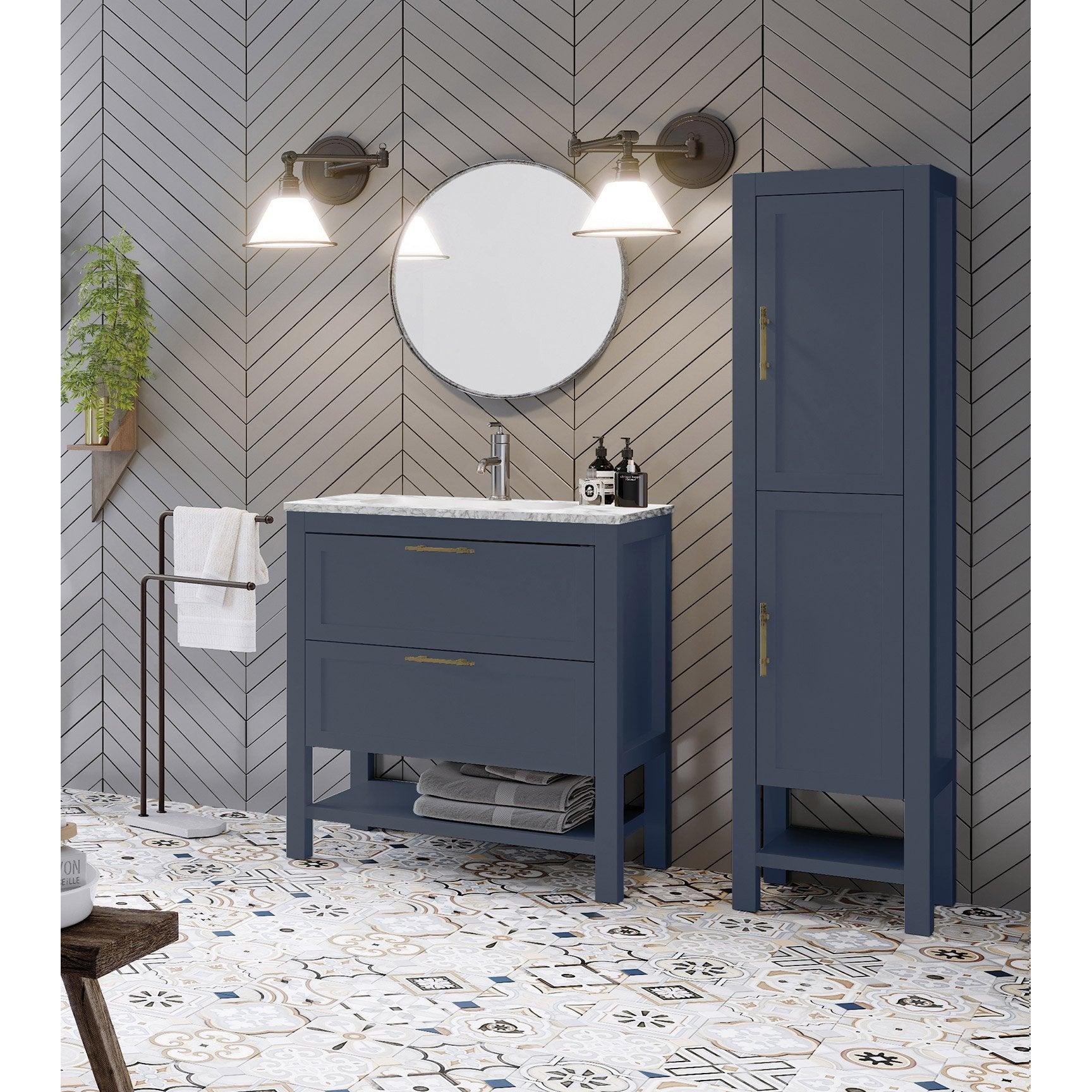 Meuble de salle de bains simple vasque kende x Meuble salle de bain 80 cm leroy merlin