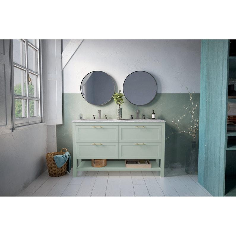 Meuble de salle de bains double vasque, Kende l.140 x H.56.8 x P.45 cm,  menthe,