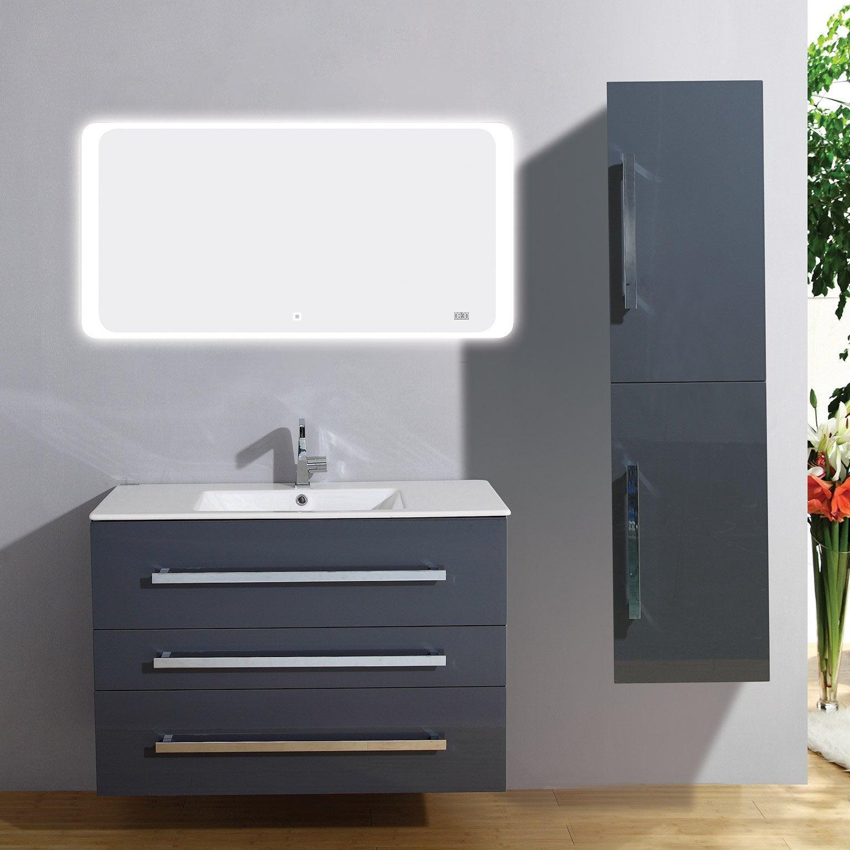 Meuble Salle De Bain Largeur 100 meuble salle de bains 4 pièces, senso l.100 x h.68 x p.50 cm, gris  brillant, sen