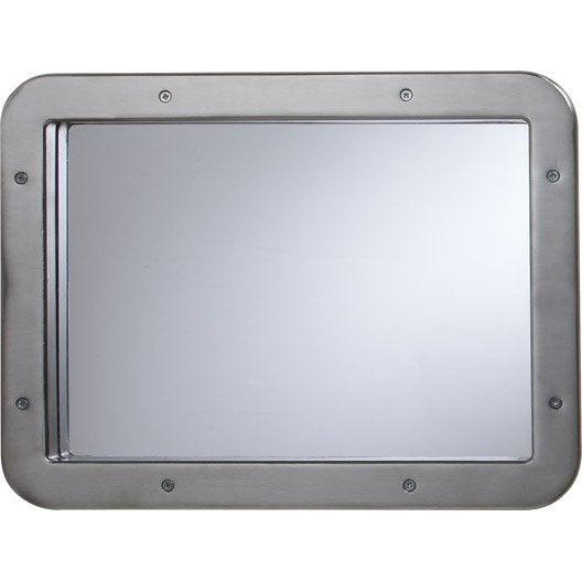 hublot de porte en m tal rectangle nickel satin 31 x 41 cm leroy merlin. Black Bedroom Furniture Sets. Home Design Ideas