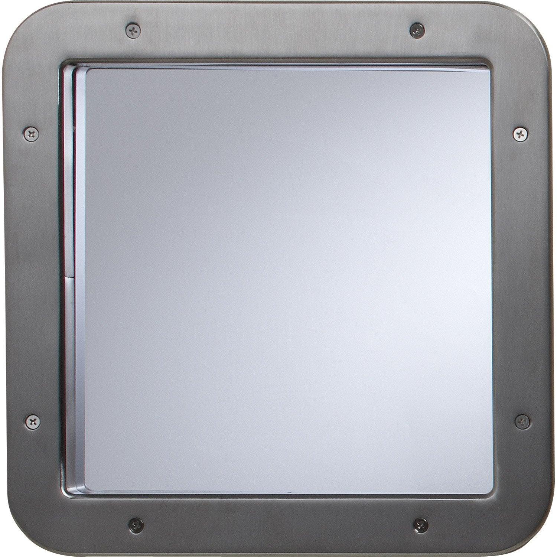 hublot de porte en m tal carr nickel satin 31 x 31 cm leroy merlin. Black Bedroom Furniture Sets. Home Design Ideas