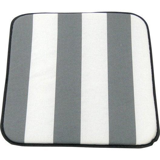 coussin d 39 assise de chaise ou de fauteuil blanc gris evy leroy merlin. Black Bedroom Furniture Sets. Home Design Ideas