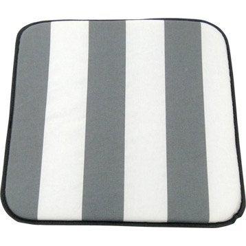 Coussin d'assise de chaise ou de fauteuil blanc / gris Evy JARDIN PRIVE