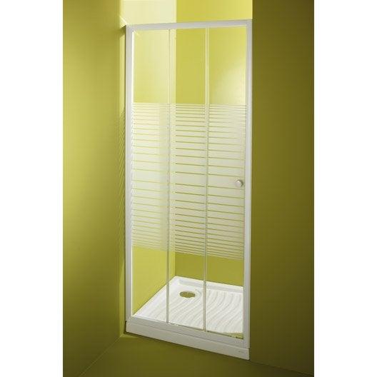 Porte de douche coulissante 78 81 5 cm profil blanc - Porte de douche pliante leroy merlin ...