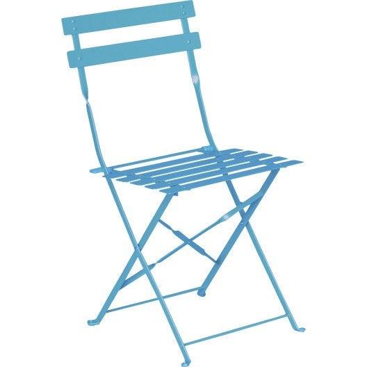 Chaise de jardin en acier flore bleu leroy merlin for Chaise salon de jardin couleur