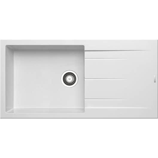 evier encastrer granit et r sine blanc alazia 1 grand. Black Bedroom Furniture Sets. Home Design Ideas