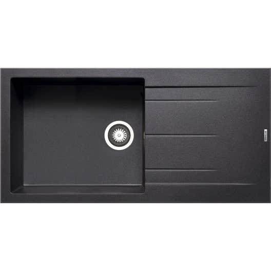 evier encastrer granit et r sine noir alazia 1 grand bac avec gouttoir leroy merlin. Black Bedroom Furniture Sets. Home Design Ideas