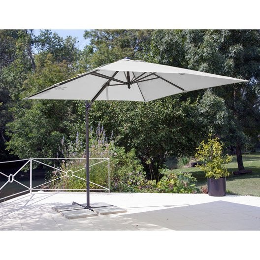 parasol d port roma blanc ivoire carr x cm. Black Bedroom Furniture Sets. Home Design Ideas