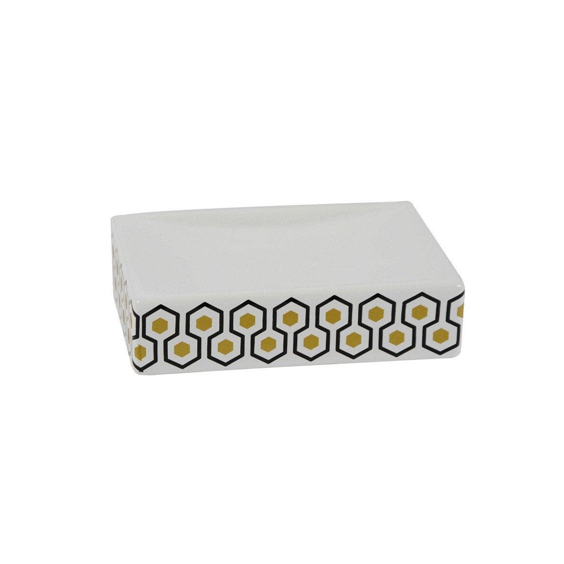 Porte-savon céramique Carlton, blanc, noir et or