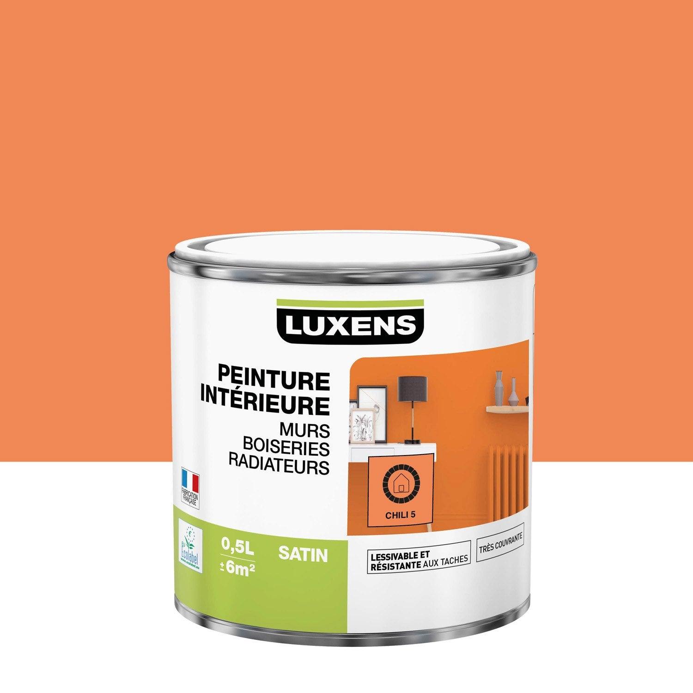 Peinture, mur, boiserie, radiateur, Multisupports LUXENS, chili 5, satiné, 0.5 l
