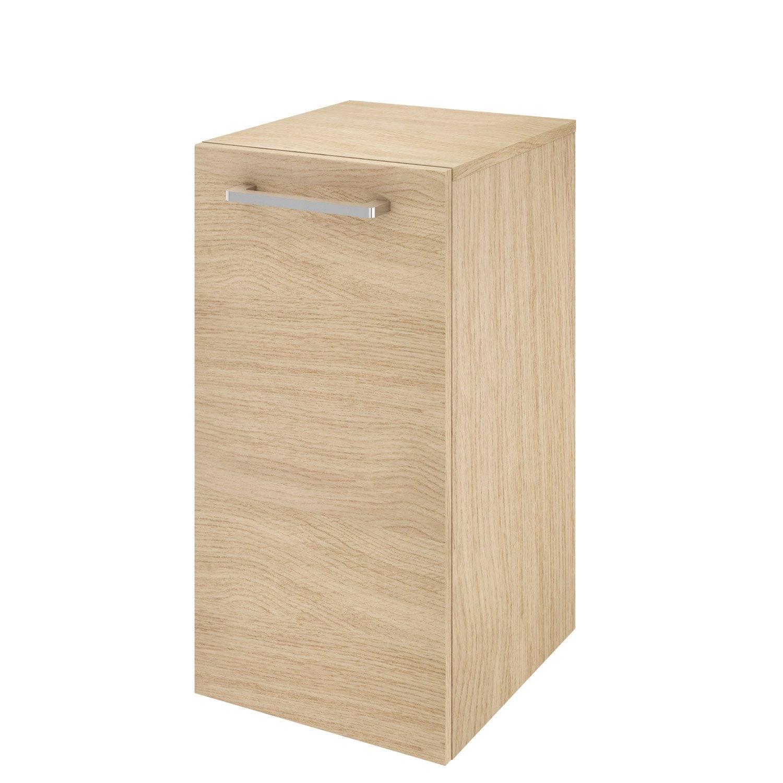 Meuble de salle de bains l.35.9 x H.70 x P.38 cm, effet chêne naturel, Easy