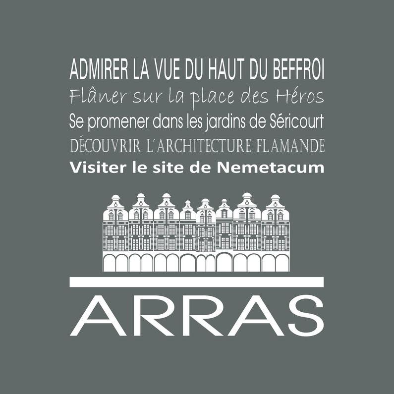 Toile Imprimée Arras Gris Artis L30 X H30 Cm