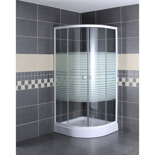 Porte de douche coulissante primo verre s rigraphi blanc - Leroy merlin porte coulissante verre ...