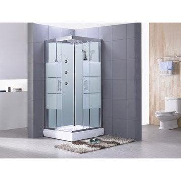 Cabine de douche Optima2 blanche hydromassante mitigeur carré 80x80cm
