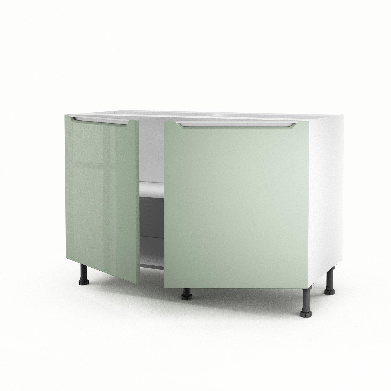 meuble de cuisine sous vier vert 2 portes milano x x cm leroy merlin. Black Bedroom Furniture Sets. Home Design Ideas