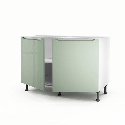 Meuble de cuisine sous vier vert 2 portes milano x l - Meuble cuisine sous evier 120 cm ...