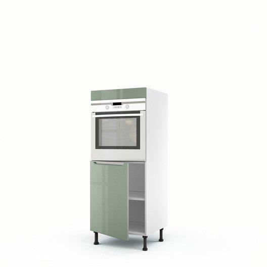 Meuble de cuisine demi colonne vert four 1 porte milano - Meuble colonne cuisine 60 cm ...