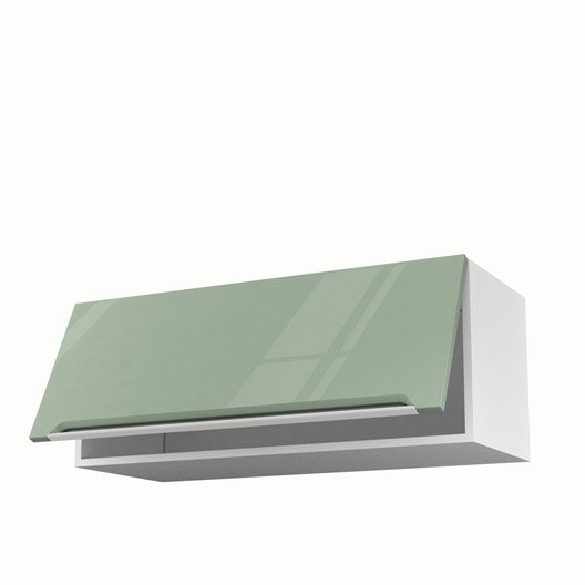 Meuble de cuisine haut vert 1 porte milano x x p for Meuble cuisine 90 cm
