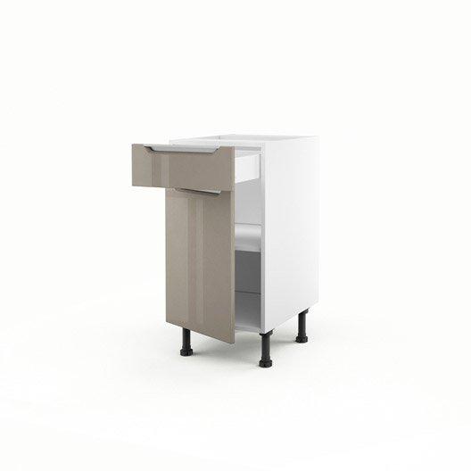 Meuble de cuisine bas taupe 1 porte 1 tiroir milano for Meuble cuisine hauteur 70 cm