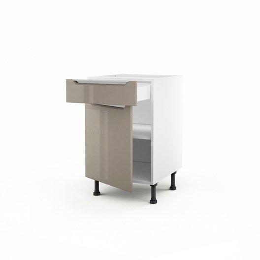 meuble de cuisine bas taupe 1 porte 1 tiroir milano