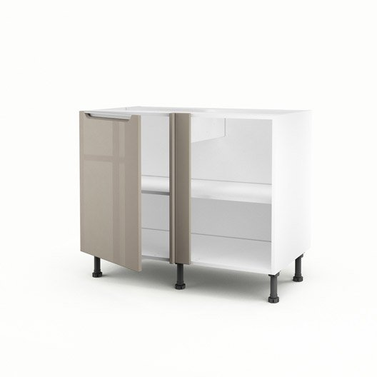 meuble de cuisine bas d 39 angle taupe 1 porte milano x x cm leroy merlin. Black Bedroom Furniture Sets. Home Design Ideas