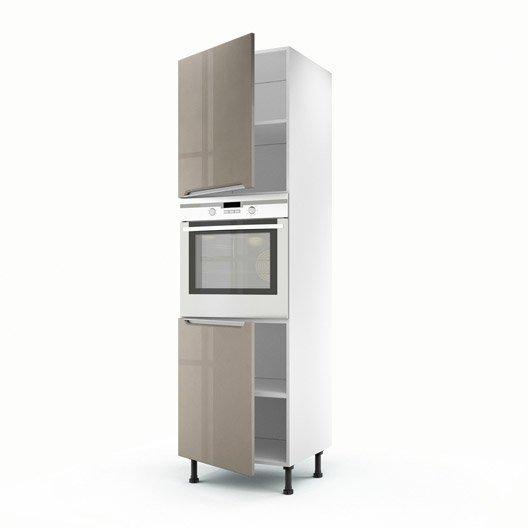 meuble de cuisine colonne taupe 2 portes milano h.200 x l.60 x p ... - Meuble De Cuisine Colonne
