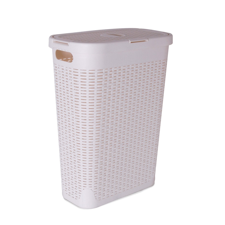 Panier à linge plastique Cottage, blanc, l.26.8 x H.60 x P.46.2 cm