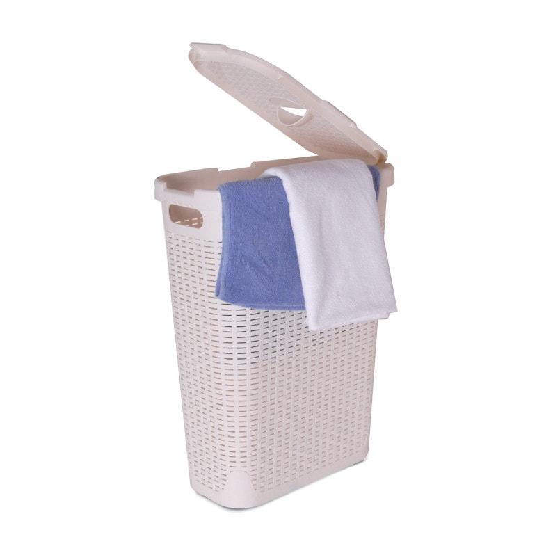 Panier à Linge Plastique Cottage Blanc L 26 8 X H 60 X P 46 2 Cm
