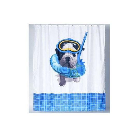 Rideau de douche en tissu x cm blanc teo scuba leroy merlin - Rideau de douche lavable en machine ...