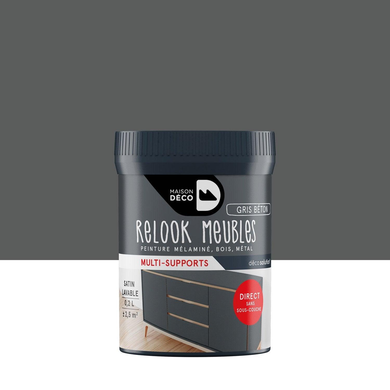 Peinture Pour Meuble, Objet Et Porte, Satiné, MAISON DECO, Gris Béton 0.2